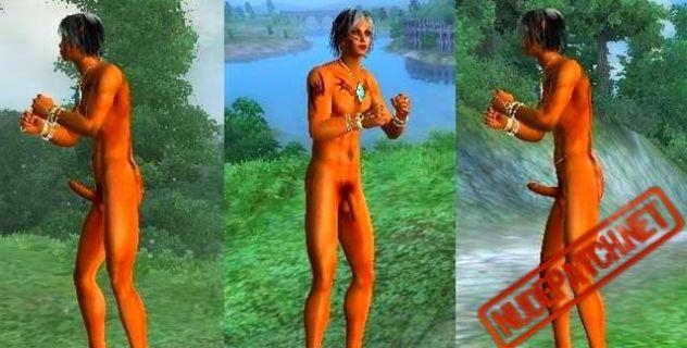 Long penis Oblivion male nude mod