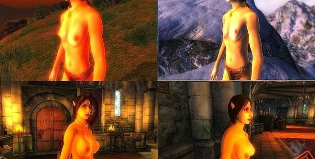 Topless Oblivion female nude mod